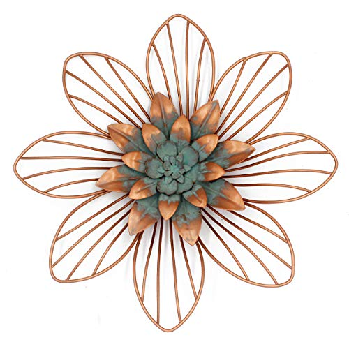 Funly mee Vintage Metall Floral Wanddekoration Blume Wanddeko (Kupfer) 30,5 x 30,5 x 3 cm