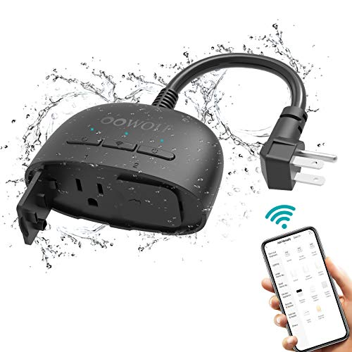Outdoor Smart Plug with 2 Sockets, OOWOLF IP64 Waterproof WiFi Outlet Compatible with Alexa and Google Home, Wireless Remote Control/Timer by Smart Phone, Individual Control, 2.4 GHz Network, Black