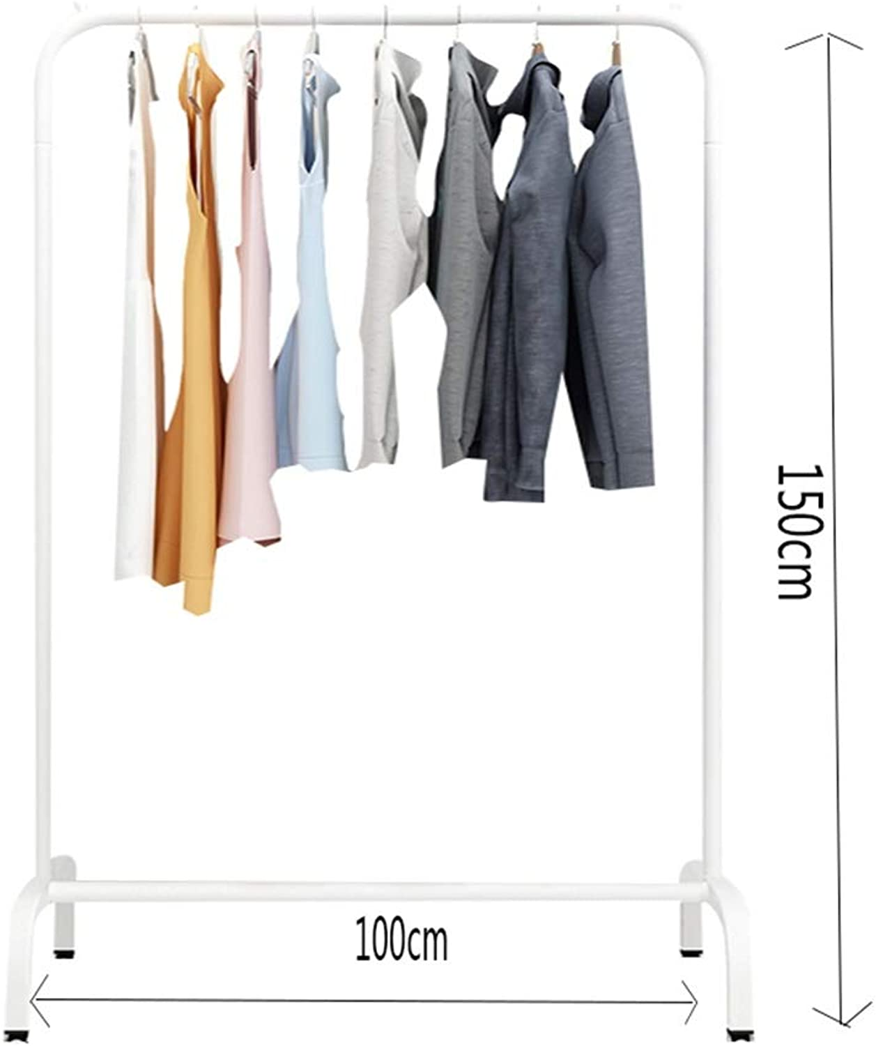 JIAYING Fashion Heavy Duty Garment Rack with Shelves 1-Tier shoes Rack,Coat Rack with Hanger Bar for Living Room, Bedroom, Study (color   White, Size   100×150CM)