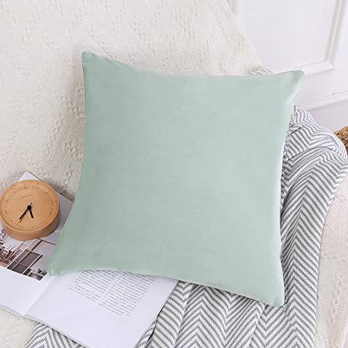WANINE Cuscino in Velluto Tinta Unita Semplice Color Caramella Cuscino per Ufficio Nordic Fresh Sofa Chair Chair-Verde Menta_45 * 45 cm