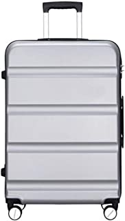 HPXCAZ Travel Box Cross-Section Striped Universal Wheel Men and Women Suitcase Light Boarding Pass Suitcase Color Dark Gray Size (40 * 23 * 57) cm (Color : Silver, Size : 20 * 10 * 28 inch)