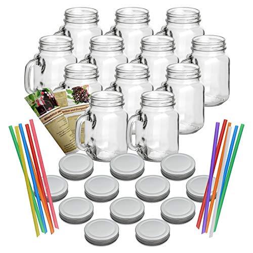 gouveo 12er Set Leere Trinkgläser 450 ml incl. Drehverschluss Silber, Henkelgläser, Gläser mit Griff incl. Flaschendiscount-Rezeptbroschüre