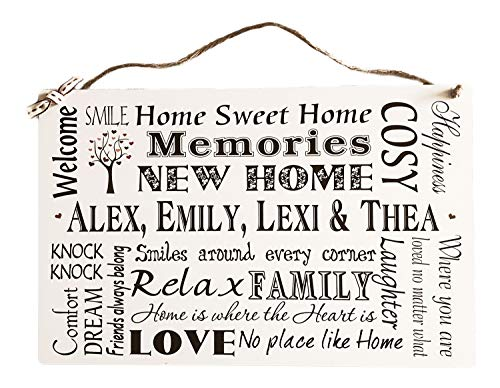 Missyjulia Ltd Personalised New Home Wooden Plaque Housewarming Wall Decoration For Family Friends New Home Gift Idea