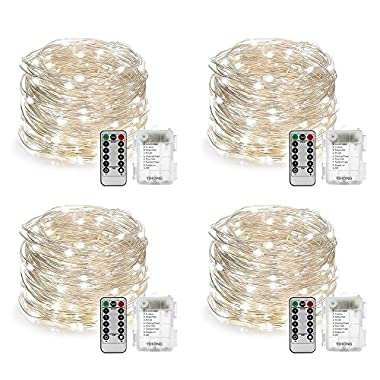 YIHONG 4 Set String Lights Battery Operated Fairy Lights Waterproof 8 Modes 16.4FT 50 LED String Lights Twinkle Fairy Lights with Remote Timer for DIY Bedroom Wedding Easter Party Decor-Daylight White