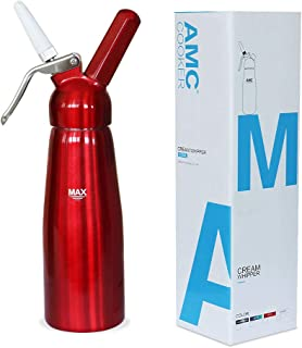 AMC Professional Whipped Cream Dispenser with 3 Nozzles and Bonus Dispenser Cleaning Brush Whipped-Cream-Dispenser-Whipper-Canister/Use with N2O cream chargers (not included) (Scarlet red)