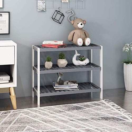 Vencier 3 Tier Grey/White Bamboo Shoe Rack Stand Shelf Shelving Hallway,Bedroom,Bathroom,Living Room Organizer Holder Storage for 12 pairs shoes