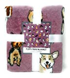 Warm & Snuggly Puppy Throw Blankets 50 x 60 Inches Dark Pink Super Soft with Corgi Dalmatians French Bulldogs Shepherds and More Great Gift or Travel Blankets