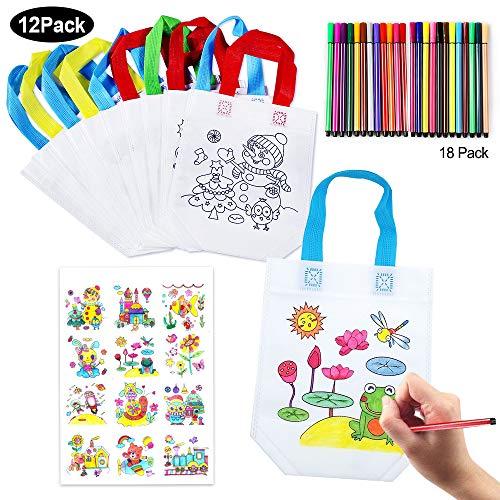 SPECOOL Bolsas de Graffiti DIY Bolsa de Asas de Pintura no Tejida para niños con bolígrafos de Color Colorea tu Propia Bolsa Fiesta de cumpleaños
