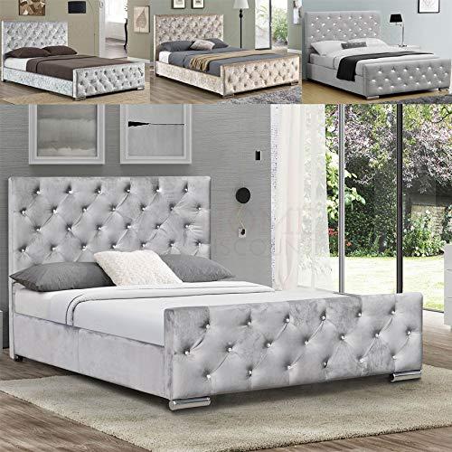 Vida Designs Arabella King Size Bed, 5ft Bed Frame Upholstered Fabric Headboard Bedroom Furniture, Crushed Velvet Champagne