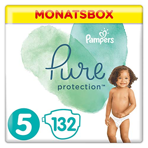 Pampers Pure Protection Windeln, Gr. 5, 11kg+, Monatsbox (1 x 132 Windeln)