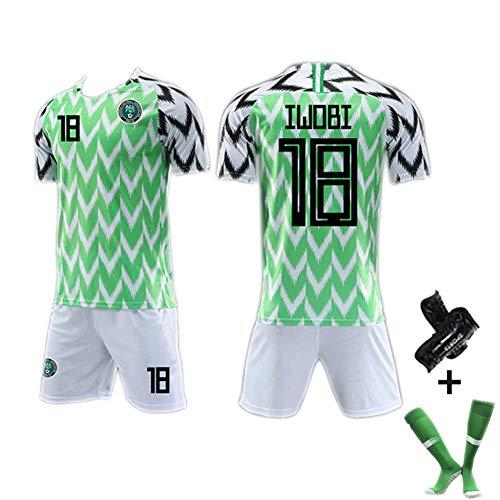 # 7# 10# 18 Nigeria WM-Trikot 2018, Herren-Fußballtrikot Retro-Fußballtrikot für Erwachsene, WM-Trikot Verschiedene Optionen mit Nummer (S-XXL)-greenB-XL