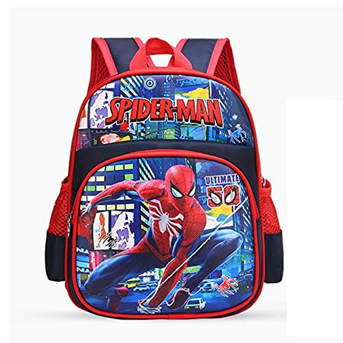 Xyh723 Niños Spider-Man Mochila Superhéroe Dibujos Animados Satchel Adolescentes Viajes De Vacaciones Escolar Impresión 3D Impermeable para Libros,Red-One Size