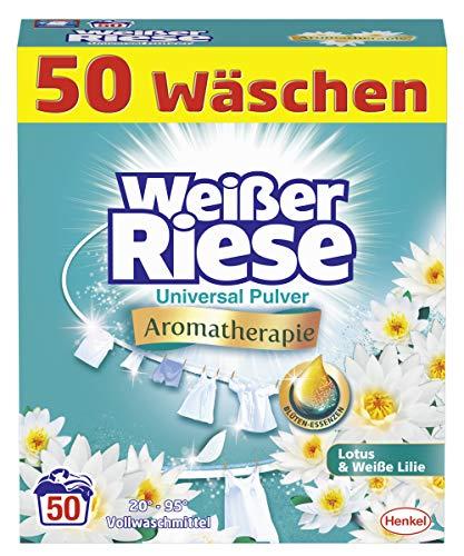Weißer Riese Universal Pulver, Aromatherapie Lotus & Weiße Lilie, Vollwaschmittel, 50 Waschladungen, Riesen Duft Erlebnis