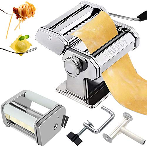 CHEFLY Pasta & Ravioli Maker Set All in one 9 Thickness Settings for Fresh Homemade Lasagne Fettuccine Spaghetti Dough Roller Press Cutter Noodle Making Machine P1802