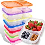 Bento Lunch Box | Meal Prep Containers | 7 Pack | Leak Proof | Reusable 3-Compartment Plastic...