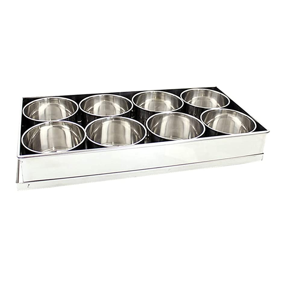 D DOLITY Stainless Steel Sauce Cups 350ml, Dipping Sauce Cups, Individual Condiment Sauce Cups/Ramekins, Condiment Pots with Tray - 8 Pots