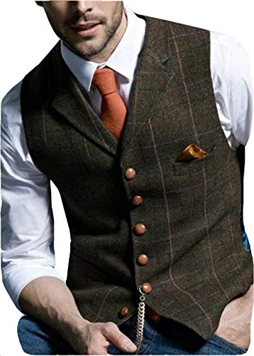 Solove-Suit Herren Casual Plaid Anzugweste Tweed Slim Fit Weste for Hochzeits-Trauzeugen(Kaffee,XXXL)