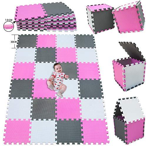 MSHEN Puzzlematte 24 Stück | Kälteschutz | abwaschbar Kinderspielteppich Matte | puzzlematte Baby | Trainingsmatte. Größe 1,94 Quadrat.Weiß-Pink-Grau | 010312