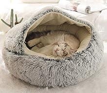 BoruisX Cama de felpa para perro, gato, cojín redondo para mascotas, tienda de campaña, cálida cama para mascotas, saco de dormir para gatos, perros pequeños, cachorros, mascotas Samll