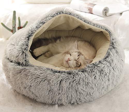 BoruisX Plüsch-Hundebett, Katzenhöhle, rundes Haustierkissen, Katzenzelt, Haus, warmes Haustierbett, Schlafsack für Katzen, kleine Hunde, Welpen, Samll Haustiere (65 x 65 cm, grau)
