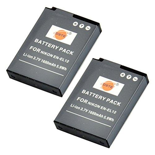 DSTE 2-Pack Ersatz Batterie Akku für Nikon EN-EL12 Coolpix P300 P310 P330 P340 S31 S70 S610 S620 S630 S640 S800c S1000pj S1100pj S1200pj S6000 S6100 S6150 S6200 S6300 S8000 S8100 S8200 S9050 S9100 S9200 S9300 S9400 S9500 S9600 AW100 AW100s AW110 AW110s AW120s Kamera