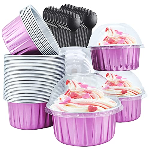 Cupcake Liners with Dome Lids 50 Pack,Free-Air 5oz Aluminum Foil Baking Cups Muffin Tin,Souffle Dessert Pudding Ramekin Holders for Individual Bakery Wedding Birthday Party,with 50 Spoons-Rose Red