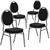 Flash Furniture 4 Pack HERCULES Series Teardrop Back Stacking Banquet Chair in Black Patterned Fabric - Silver Vein Frame