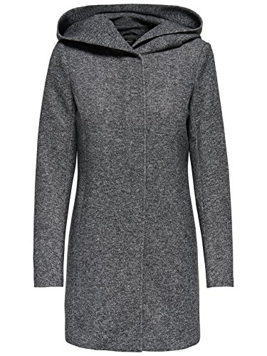 ONLY Damen-Woll-Mantel onlSedona Light Coat OTW, Größe:XXL, Farbe:Dunkelgrau