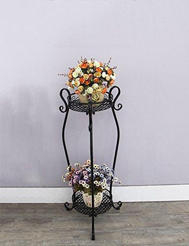 Étagères à fleurs polyvalentes Style européen Fer 2-Layers Flower Pot Racks Pour Balcon Salle De Séjour Pour intérieur et extérieur (Couleur : 1, taille : 85cm)