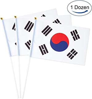South Korea Flag Korean Small Stick Mini Hand Held Flags Decorations 1 Dozen (12 Pack)