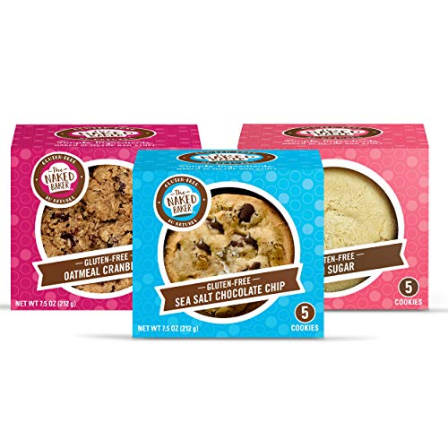 The Naked Baker Classics Cookie Variety Pack | Fresh Baked Gluten Free Cookies Variety Pack - Gluten Free Sea Salt Chocolate Chip, GF Sugar and GF Oatmeal Cranberry | Gluten Free Soft and Chewy Cookies | Non-GMO All Natural Flavor | THREE 5-cookie packages