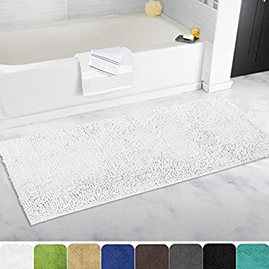 MAYSHINE Bath mat Runners for bathroom rugs,Long floor mats,Extra Soft, Absorbent, thickening Shaggy Microfiber,Machine-Washable, Perfect for Doormats,Tub, Shower(27.5X47 inch White)