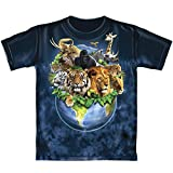 Animals on Planet Earth Tie Dye Adult Tee Shirt (X-Large)