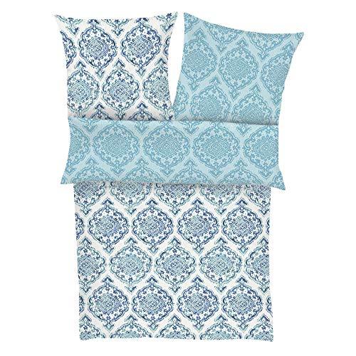 Zeitgeist Kananga Bettwäsche 155x220 cm - Satinbettwäsche blau, 100% Baumwolle, 2 teilig mit Reißverschluss