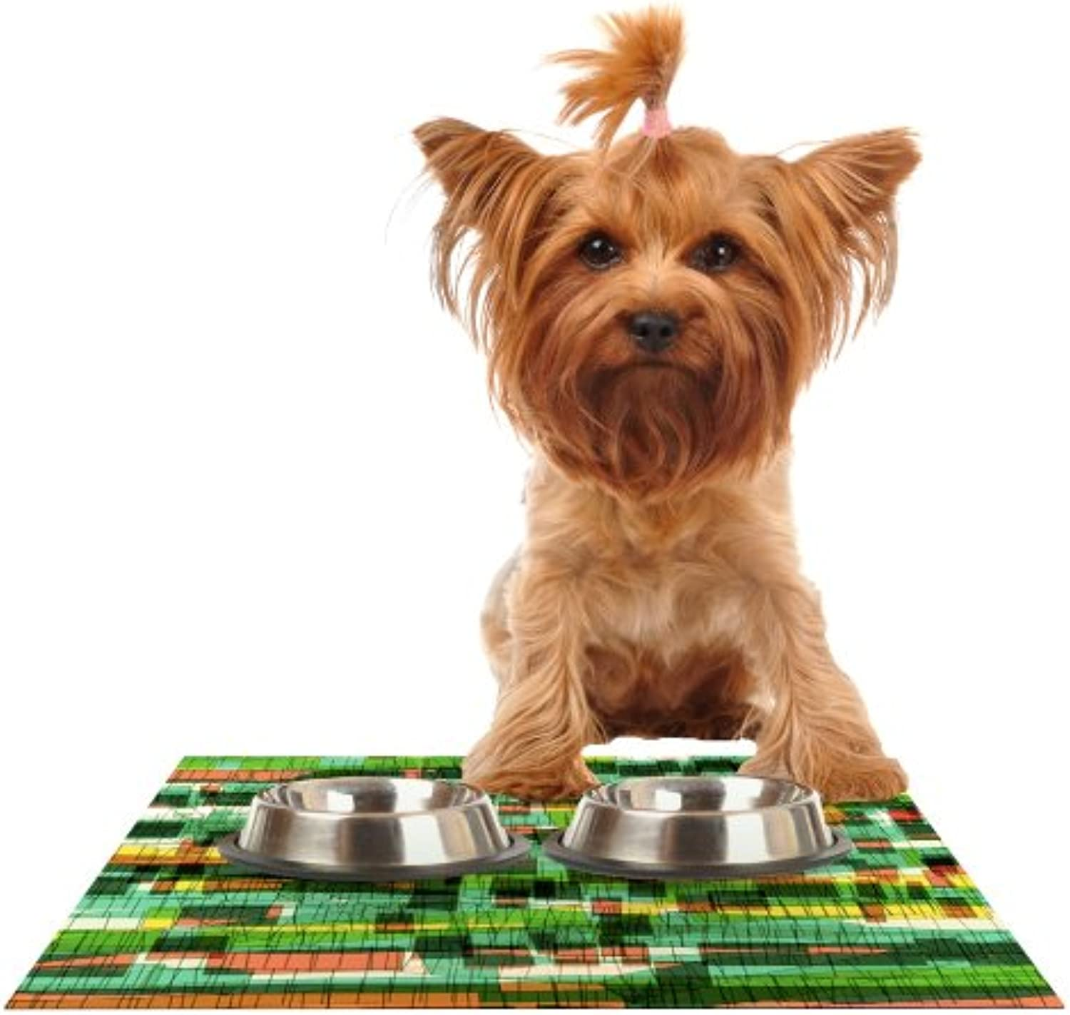 Kess InHouse Frederic LevyHadida Squares Traffic Green Feeding Mat for Pet Bowl, 18 by 13Inch