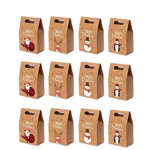Queta 12 Sacs-Cadeaux de Noël, Sacs en Papier Kraft de...