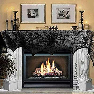 Halloween Decoration Black Lace Spiderweb Fireplace Mantle Scarf Cover Festive Party Supplies Set for Fireplace Window Door Frame Decoration 18 x 96 inch from WESJOY