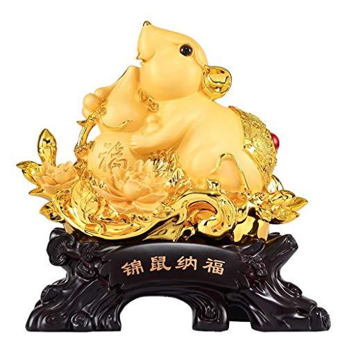 Feng Shui Dekoration Goldene Harz Ratte mit Feng Shui Good Luck Gourd Sammlerfiguren Tischdekoration Statue 2020 Chinesisches Sternzeichen Ratte Jahr Handgefertigte Geschenke Home Tisch Büro Feng Shui