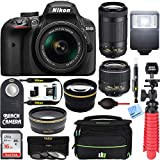 Nikon D3400 24.2MP DSLR Camera w/AF-P 18-55 VR & AF-P DX 70-300mm VR Dual Lens Accessory Bundle - (Renewed) (Black)
