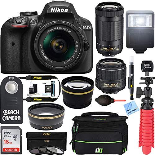 Nikon D3400 24.2MP DSLR Camera w/AF-P 18-55 VR & AF-P DX 70-300mm VR Dual Lens Accessory Bundle - (Renewed) (Black)