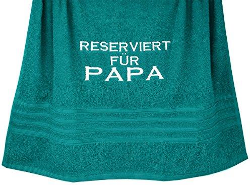 Lashuma Großes Handtuch Nautic - Grün, London Duschhandtuch 70x140 cm mit Stickerei Reserviert für Papa
