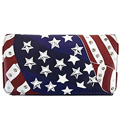 American Flag Stars and Stripes Western Country Purse Single Shoulder Bags Women Blocking Wristlet Wallet