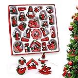 O-Kinee Weihnachtsbaum Anhänger Holz, 24er Set Weihnachtsbaum Schmuck, weihnachtsbaumschmuck Holz, Weihnachtsmann Schneemann Engel Schaukelpferd Baumschmuck Weihnachten Deko Neue Jahr Geschenke