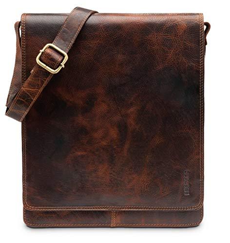 LEABAGS London Leder-Umhängetasche I Laptoptasche bis 13 Zoll I Messenger Bag aus echtem Büffel-Leder im Vintage Look I Schultertasche I Arbeitstasche I 26x8x31cm (FurryVinkat)