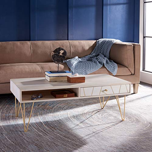 Safavieh Home Collection Marigold Mid-Century White Wash and Brass Hairpin Leg Coffee Table