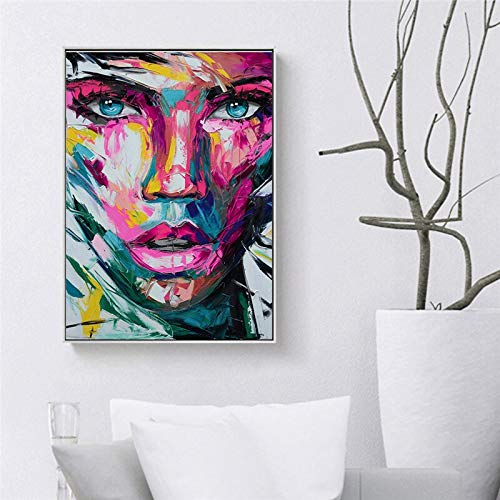 Portrait on canvas. Modern print oil painting. Abstract wall art posters and prints. Mural in the living room 40x60cm