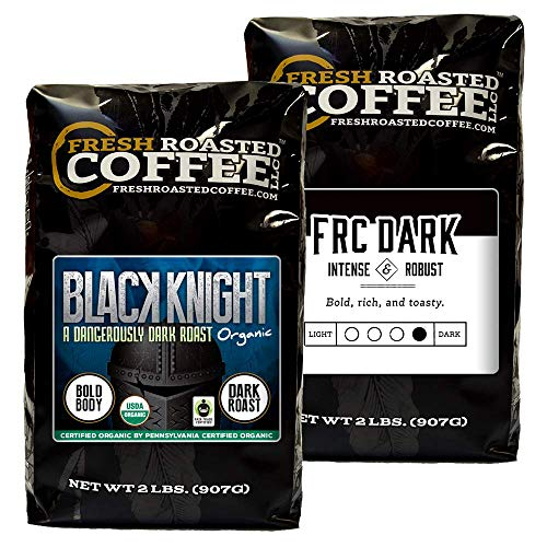 Fresh Roasted Coffee LLC, Dark Roast Bundle: Black Knight Organic / Dark Roast Blend, Whole Bean, 2 Pound Bags