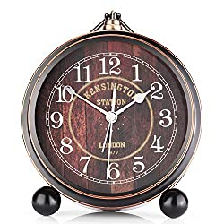 OURISE 5.5 Metal Antique Table Clock, Retro Vintage Non-Ticking Small Alarm Clock,Battery Operated Silent Quartz Movement Desk Gift Clock for Bedroom Living Room Indoor Decoration Kids(A01)