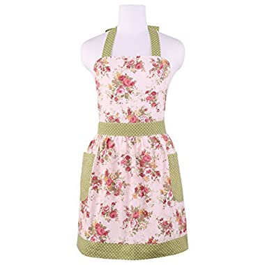 Neoviva Cotton Canvas Kitchen Apron for Women with Pocket, Floral Quartz Pink