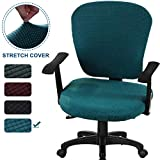 CAVEEN Office Chair Covers 2piece Stretchable Computer Office Chair Cover Universal Chair Seat Covers Stretch Rotating Chair Slipcovers Washable Spandex Desk Chair Cover Protectors,Green